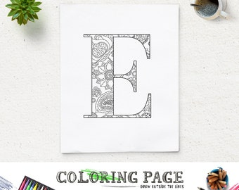 SALE Coloring Page Floral Printable Alphabet With Texture Instant Download Digital Art Pages Adult
