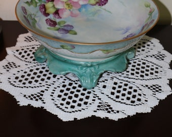 Hand Painted Vintage Porcelain Pedestal Bowl Flower Fruit Teal Aqua Two Piece Set Serving Dining Entertaining Table Decor