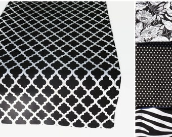 Black & White Table Runner with Matching Napkins, Black and White Table Linens, Black Table Runner, Black White Floral Table Runner