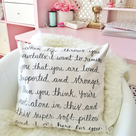 "Supportive Pillow Cover - When life throws you curveballs - Friend/Divorce/There for you Gift - 18"" handwritten quote velveteen pillow cover"