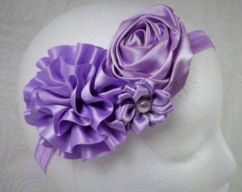 Lavender Headband, Baby Girl Headband, Baby Flower Headband, Newborn Headband, Baby Girl, Little Girl Headband, Flower Headband, Satin