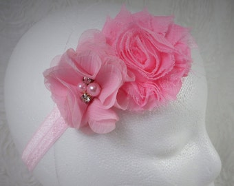 Pink Baby Headband, Baby Girl Headband, Baby Flower Headband, Newborn Headband, Little Girl Headband Pink Flower Headband, Shabby Chic