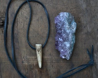 Antler necklace, simple antler necklace, antler necklace on leather cord, rune necklace, simple antler tip necklace, ethical