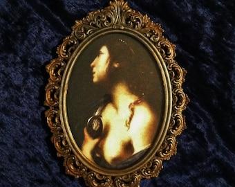Saint Agatha Patron Saint Against Breast Cancer Print In Vintage Gold Italian Metal Frame