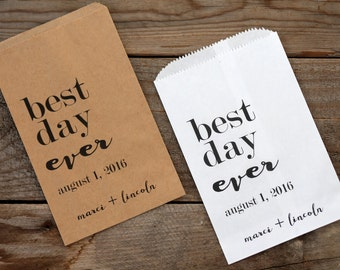 Best Day Ever Personalized Wedding Favor Bags - Candy Buffet, Popcorn Bar, Rehearsal Dinner, Engagement Party