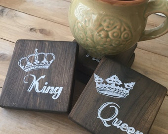King & Queen Coasters - Set of 2