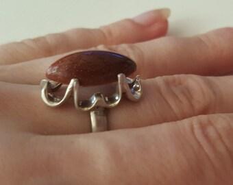 925 Sterling Silver Vintage Sandstone Ring, size 7.5