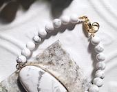 Marble Howlite Gold Bracelet--Statement Bracelet