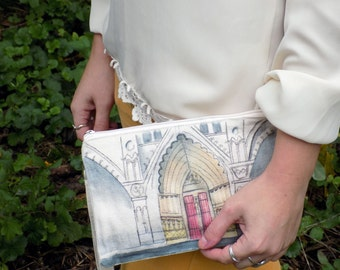 French Gothic Cathedral Bohemian Hand Painted Clutch Bag- Watercolor and Ink--Made to Order any pallete!
