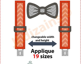 Suspenders Applique Design. Suspenders embroidery design. Embroidery design suspenders. Bow applique. Bow tie. Machine embroidery design.