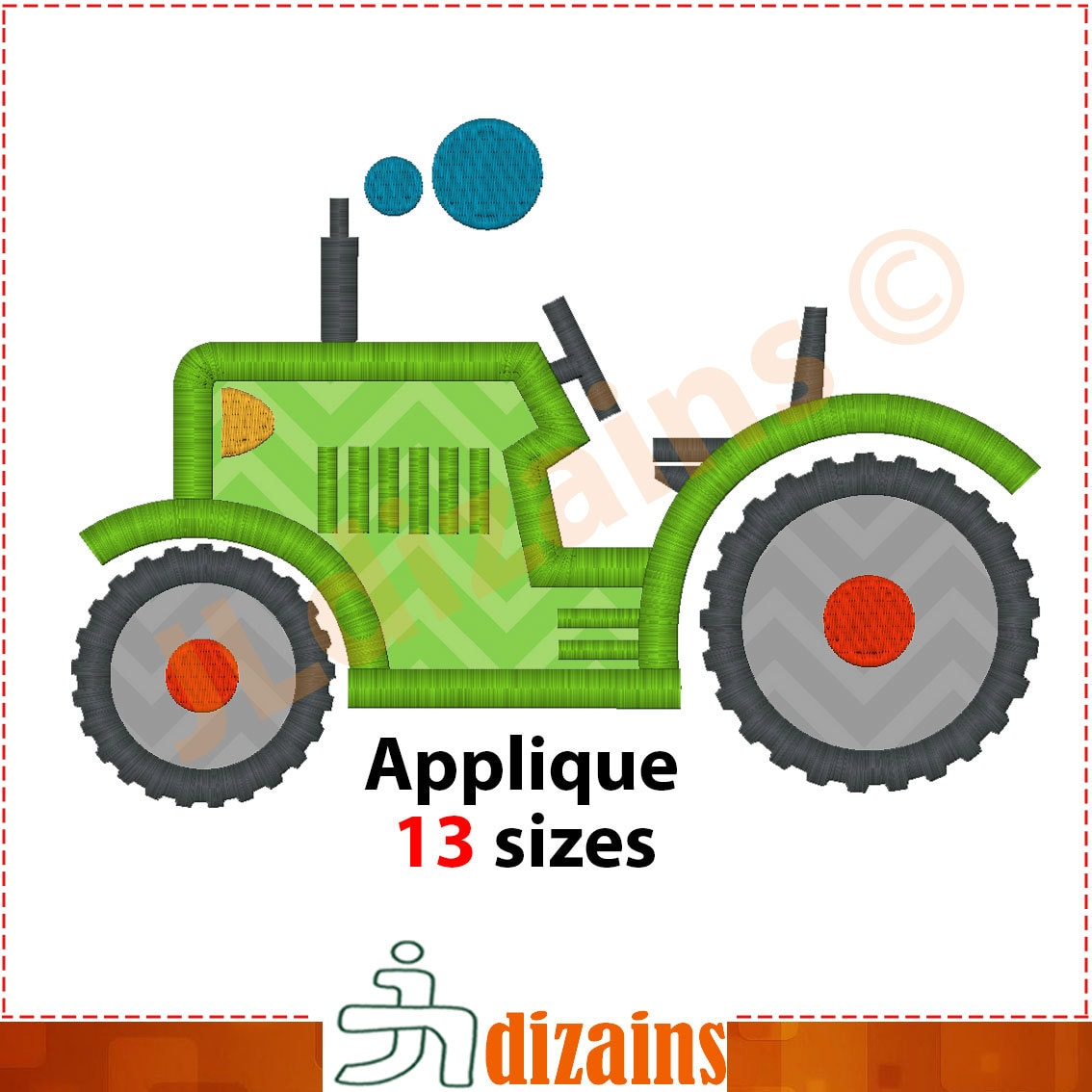 Tractor applique design embroidery