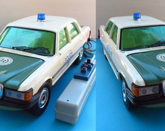 Vintage Greek battery operated Police Car Mercedes 450 SE 1970s by Mister P.Remote control Car toy.