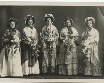 1900s Five Named Bridesmaids Real Photo Postcard Antique RPPC Vintage Victorian Flowers Wedding