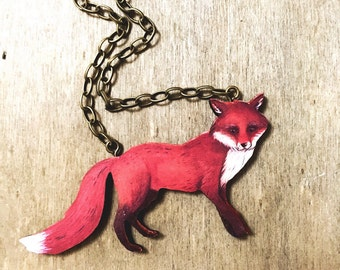 Red Fox Necklace, Woodland, Animal lovers gift idea, Collar Necklace, Winter, Autumn, Christmas Gift