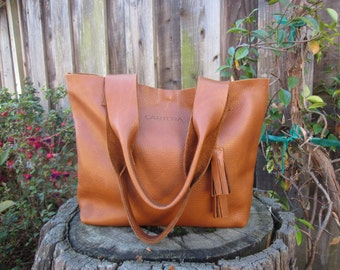 FREE shipping Leather tote, large leather tote, shoulder leather bag, leather tote woman, large handbag, laptop bag, leather bag TAN