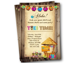 Luau Invitation tiki adult party hawaiin tiki time tiki invite backyard bbq printed printable hula party invitation luau party luau birthday
