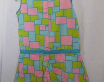 Vintage Geometric Romper Jumper Sleeveless Summer Culottes Shorts Girl 12