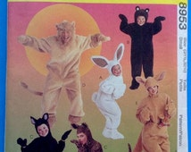 McCall Costumes Sewing Pattern 8953 Adult Kid Lion Bear Cat Bunny Kangaroo Small Uncut Halloween Theater DIY Crafting Craft Crafts Sew