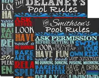Pool rules sign, custom outdoor chalkboard style pool sign, pool rules sign, custom pool rules sign for home, pool decor ideas SGNOUT01