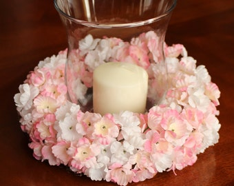 Floral Candle Ring with Hurricane Vase
