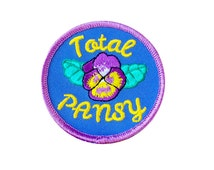 Total Pansy Embroidered Iron-On Patch - Sew On Patch for Jackets, Gift Ideas