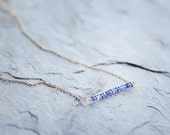 SALE 50% OFF! Beaded blue sapphire bar necklace on gold filled chain // delicate minimalist necklace // bar necklace
