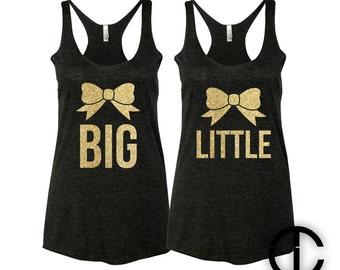Big Little Bow Sorority Gold Glitter Foil Shirts Tanks Tanktop Tanktops Shirt Tank Ladies Women