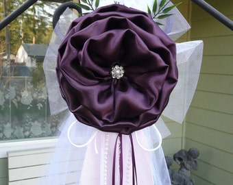 Plum Pew bows, Chair Bows, Elegant Wedding Bows Pew Church Aisle Decorations