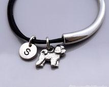 Bichon Frise bangle, Bichon Frise bracelet, Bichon frise jewelry, Dog charm, Leather bracelet, Leather bangle, Personalized bracelet