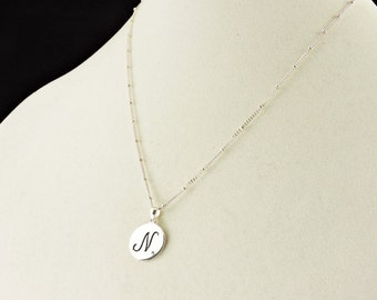 """Sterling Silver """"N"""" With 1.5mm Diamond Monogramed Pendant Saturn Necklace 19"""""""
