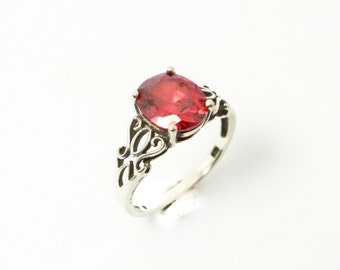 Silver and Red Glass Ring with Brilliant Bright Red Glass in Sterling Silver Ring with Twisted Floral Sides and Bright Gem