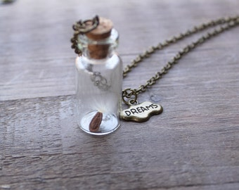 Wish Necklace, Dreams Necklace, Terrarium Necklace, Wishing Wisp Necklace, Good Luck Jewelry, Dandelion Necklace, Wishes Necklace