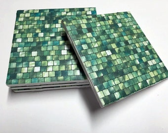 Green Coasters - Drink Coasters - Green Home Decor - Tile Coasters - Ceramic Coasters - Table Coasters On Sale