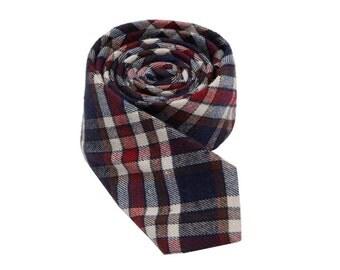 Plaid Cotton Ties.Mens Plaid Tie.Wedding Necktie.British Glen Necktie.Skinny Tie.Mens Gifts.