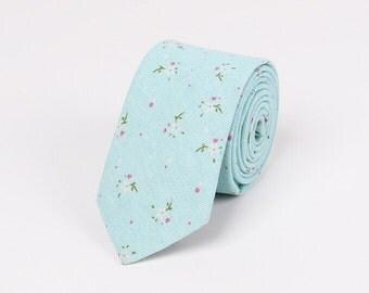 Sky Blue Skinny Ties,Floral Skinny Ties.Wedding Floral Neckties.Cotton Ties.Wedding Accessoires