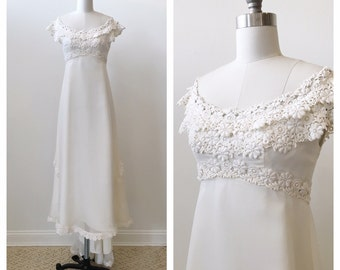 Vintage Bridal 1970's Silk Organza and Venice Lace Wedding Gown