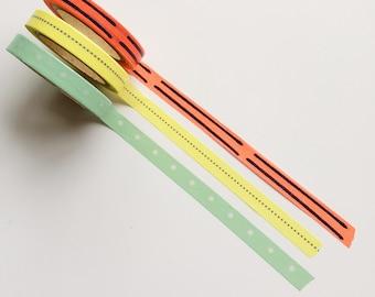 Thin washi tape mint green/yellow/orange (set of 3 rolls)