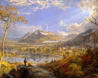 "Starrucca Viaduct by Jasper Francis Cropsey, 9.5""x16"", Giclee Canvas Print"