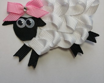 Little Bo Peep Sheep Clip Ribbon Sculpture, Easter hair clip, Hair Accessory, photo prop, little lamb, farm birthday party barnyard hair bow