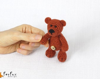 Miniature bear, woodland plush, stuffed teddy bear, crochet little teddy bear, plush teddy bear, crochet animal - Ben the Bear Cub