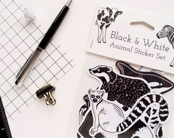 Black and White Animals Sticker Set. Eight Cute Monochrome Animal Stickers. Stocking Stuffer.