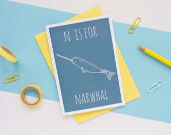 Narwhal Card. Animal Alphabet Card. 100% Recycled Card & Envelope