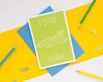 Iguana Card. Animal Alphabet Card. 100% Recycled Card & Envelope