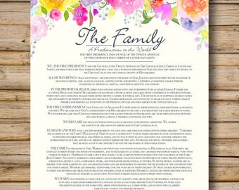Family Proclamation, Watercolor Flower Style, DIGITAL FILE Only, 8x10 & 11x14 Included, LDS Printable, Proclamation to the World, Mormon Art