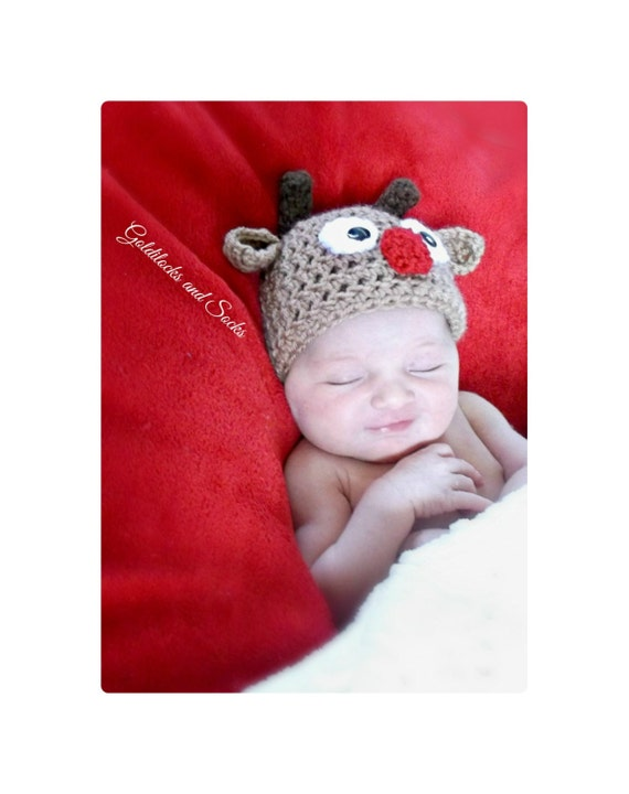 Rudolph hat crochet christmas hat babys first christmas rudolph red