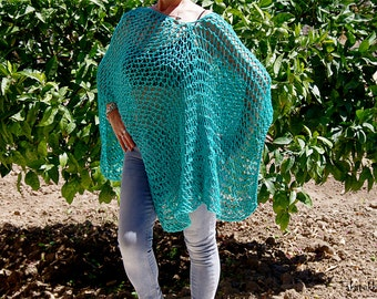 Green Poncho, Oversized poncho, Women Accessories, Loose Knit Poncho,  Boho Poncho, Summer poncho, Summer wrap, Summer shawl, Beach cover up