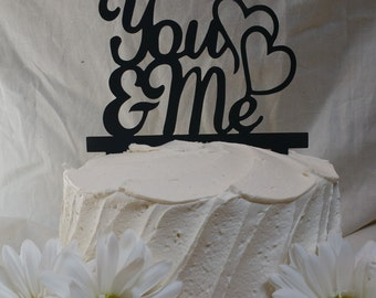 You And Me With Hearts Acrylic Wedding Cake Topper | Classic Wedding | Simple Cake Topper