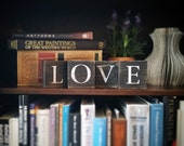 Love, Love Sign, Love Art, Love Tile Letters, Love Wall Decor, Love Blocks, Wood Letter Tiles, Shabby Chic Sign Set, Gift Idea