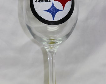 Hand Painted Pittsburgh Steelers Wine Glass