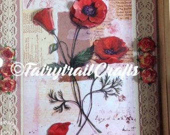 Handcrafted decoupage picture of poppy